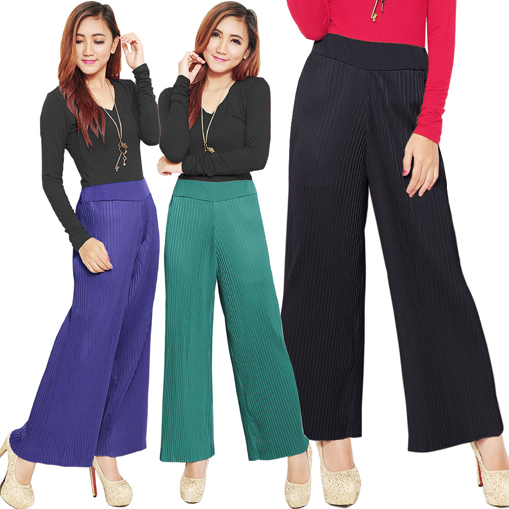 PVP4522 Pleated Loose Pants - Celana Panjang Plisket bhn spandex korea import HQ freesize fit up to XL